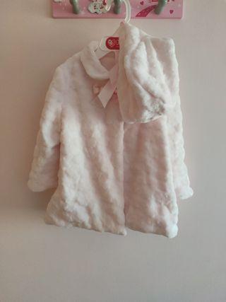 abrigo pelo talla 18 rosa con capota