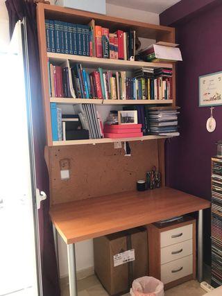 Mesa despacho, cajonera y estantería