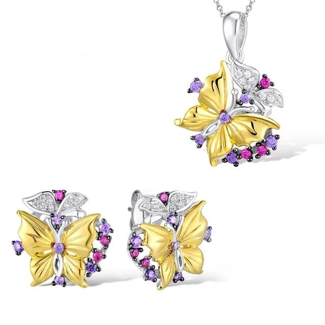 New Exquisite Jewelry Set Butterfly Pendant Stud