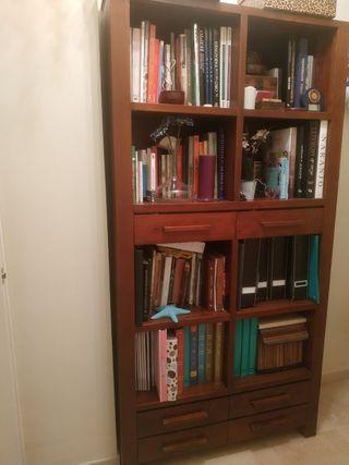Mueble Teka maciza estantería y cajones