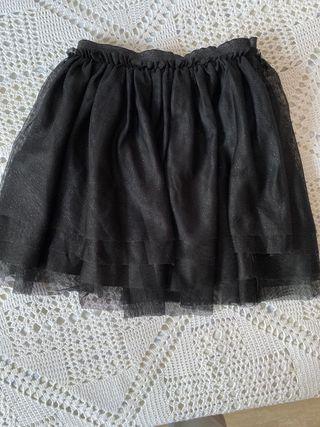 Falda negra purpurina T-4/5 años H&M