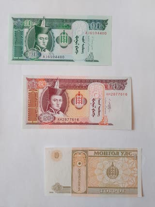3 BILLETES DE MONGOLIA