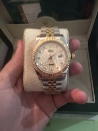 ROLEX DATEJUST SILVER AND GOLD