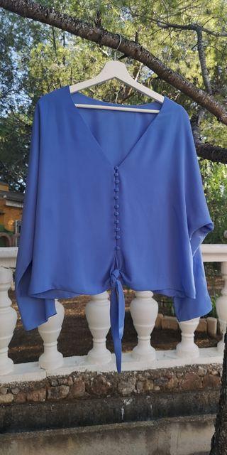 Blusa Bimani azul con lazada
