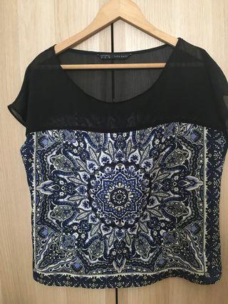 Blusa azul mujer marca Zara