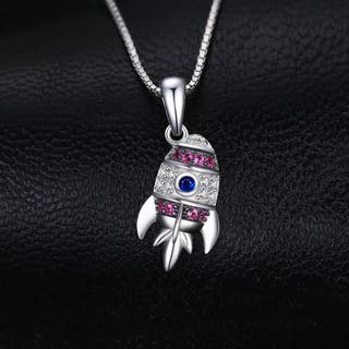 Spaceship Created Spinel Ruby Pendant Necklace