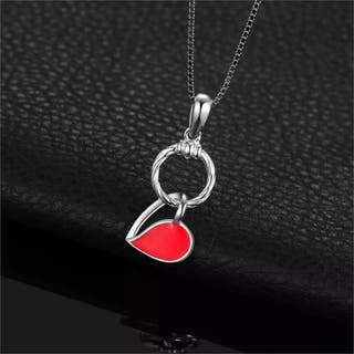 925S.S Red Enamel Hollow Heart Dangle Circle