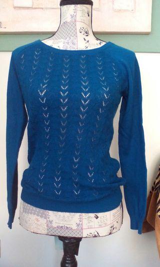 Jersey azul de punto fino