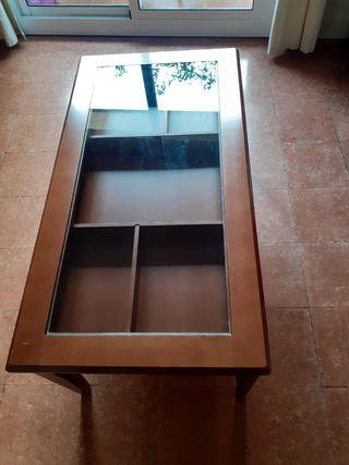 mesa de centro marrón elevable