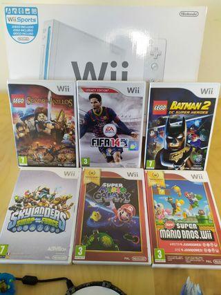 Wii Blanca con 7 juegos