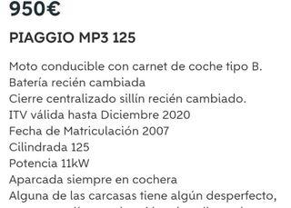 piagio MP3 de 125 negociables