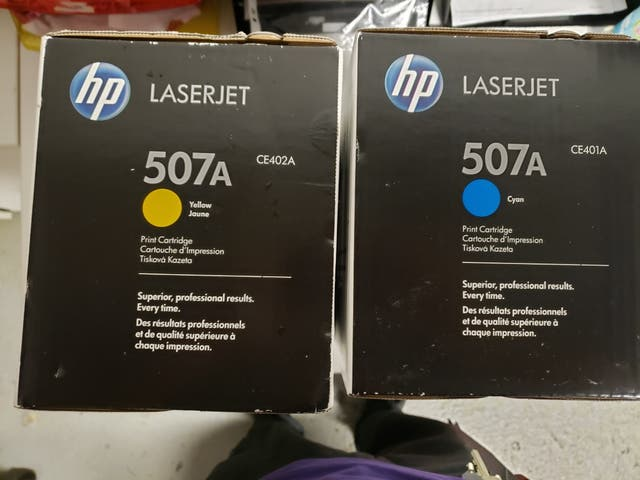laserjet 507A BLUE-YELLOW and officejet pro 6970