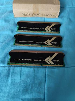 3 memorias ram Mushkin ddr3 1600 6gb 2+2+2