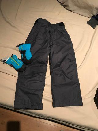 Pantalón y manoplas esquí talla 5 6