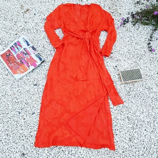 Vestido naranja jaquard multiposición Zara