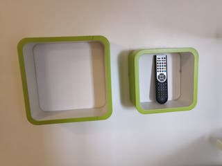 Conjunto estanterías verdes