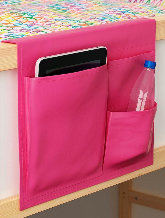 Dosel puente y bolsillos Ikea cama 90 color rosa