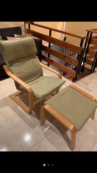 Sillon-tumbona de madera para interior