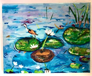 Bird in the blue pond by JANAS