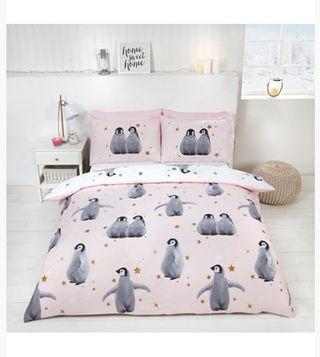 Single Penguin Duvet Cover Set - pink