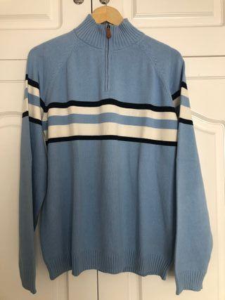 Jersey azul claro con cremallera Algodón 100%