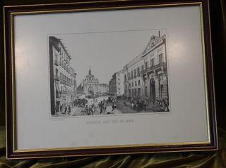 Litografía viejo Madrid, enmarcada,Puerta del Sol.