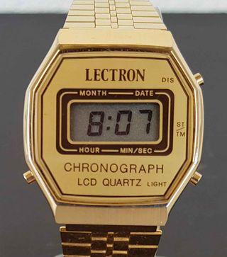 927-Reloj LECTRON, digital, crongrafo,VINTAGE, NOS