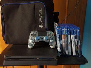 PS4 SLIM 1TB + MANDO CRYSTAL +8 JUEGOS