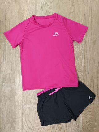 Camiseta + short deportivo niña Decathlon 8 años