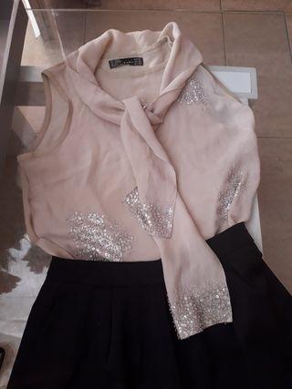 blusa y falda talla m muy elegante