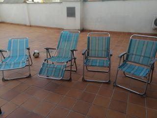 2 sillas y 2 tumbonas
