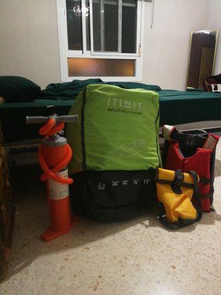 kayak inflable + remos