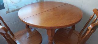 mesa de pino 90 cm y 2 sillas