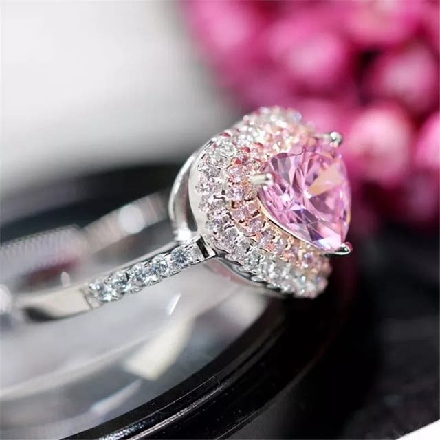 925 Sterling Silver Heart Pink Topaz Lover Ring