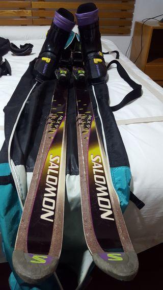 Esquís ski. Salomón mlx9. Botas funda Fijaciones