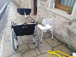 silla de ruedas y silla de ducha