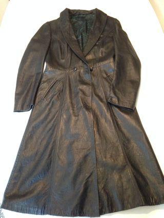 Abrigo de cuero, largo, negro, 38