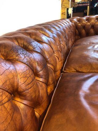 Antiguo Sofá de piel chester original