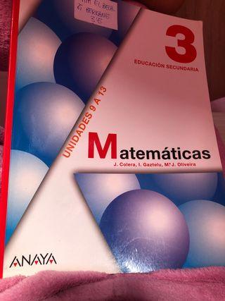 Libro de Matemáticas Anaya 3 de secundaria