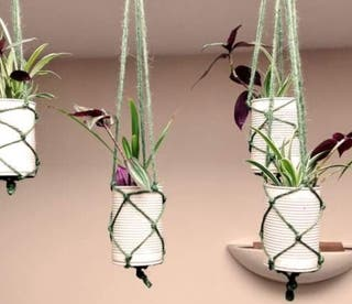 Hanging plants in hand painted upcycled pots