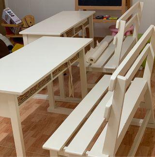 Pupitre infantil de madera blanca (2 mesas)