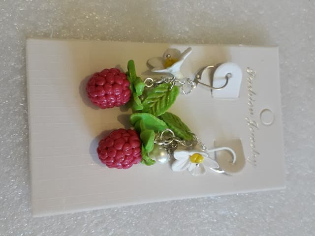 Set of Raspberries Made of Baked Polymer Clay