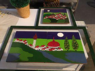 Dos cuadros esmaltados artesanos
