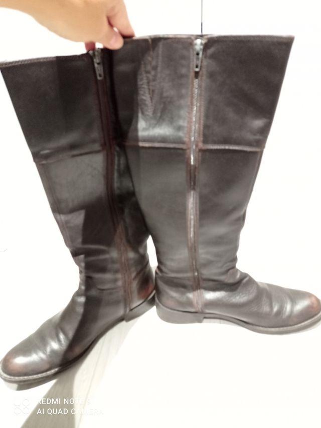 Botas altas piel marrón Talla 38'5