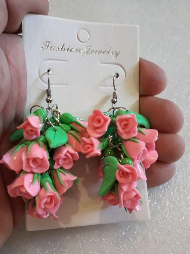 Handmade Polymer Clay Earrings Rose Flowers