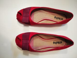 zapatos, manoletinas, bailarinas rojas