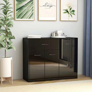 Mueble Aparador negro brillante 88x30x70 cm