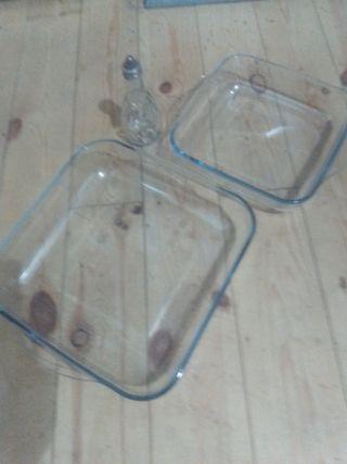 bandejas cristal +aceitera