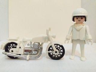 PLAYMOBIL MOTO Y MOTORISTA BLANCOS ANTIGUO 1979