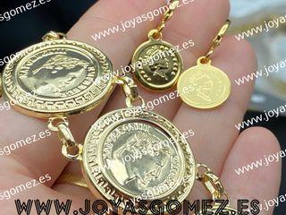 Pulsera y pendientes monedas chapado oro 18k